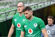 31 January 2020; Ross Byrne, right, and Devin Toner during an Ireland Rugby captain's run at the Aviva Stadium in Dublin. Photo by Seb Daly/Sportsfile