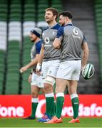 31 January 2020; Robbie Henshaw, right, and Iain Henderson during an Ireland Rugby captain's run at the Aviva Stadium in Dublin. Photo by Seb Daly/Sportsfile