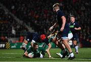 31 January 2020; Jack Crowley of Ireland goes over to score his side's first try despite the tackle of Kieran Watt of Scotland during the U20 Six Nations Rugby Championship match between Ireland and Scotland at Irish Independent Park in Cork. Photo by Harry Murphy/Sportsfile
