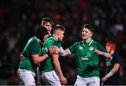 31 January 2020; Jack Crowley of Ireland celebrates after scoring his side's third try with team-mates including Mark Hernan, right, during the U20 Six Nations Rugby Championship match between Ireland and Scotland at Irish Independent Park in Cork. Photo by Harry Murphy/Sportsfile