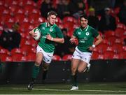 31 January 2020; Jack Crowley of Ireland on his way to scoring his side's third try during the U20 Six Nations Rugby Championship match between Ireland and Scotland at Irish Independent Park in Cork. Photo by Harry Murphy/Sportsfile
