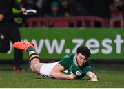 31 January 2020; Andrew Smith of Ireland goes over to score his side's fourth try during the U20 Six Nations Rugby Championship match between Ireland and Scotland at Irish Independent Park in Cork. Photo by Harry Murphy/Sportsfile