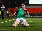 31 January 2020; Thomas Ahern of Ireland on his way to scoring his side's fifth try during the U20 Six Nations Rugby Championship match between Ireland and Scotland at Irish Independent Park in Cork. Photo by Harry Murphy/Sportsfile