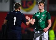 31 January 2020; Brian Deeny of Ireland and Alex Maxwell of Scotland embrace following the U20 Six Nations Rugby Championship match between Ireland and Scotland at Irish Independent Park in Cork. Photo by Harry Murphy/Sportsfile