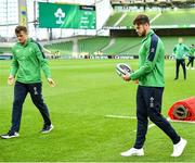 1 February 2020; Caelan Doris, right, with Josh van der Flier of Ireland, walk the pitch prior to the Guinness Six Nations Rugby Championship match between Ireland and Scotland at the Aviva Stadium in Dublin. Photo by Brendan Moran/Sportsfile
