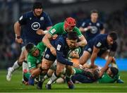 1 February 2020; Sam Johnson of Scotland is tackled by CJ Stander, left, and Josh van der Flier of Ireland during the Guinness Six Nations Rugby Championship match between Ireland and Scotland at the Aviva Stadium in Dublin. Photo by Seb Daly/Sportsfile
