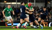 1 February 2020; Josh van der Flier of Ireland is tackled by Adam Hastings, left, and Rory Sutherland of Scotland during the Guinness Six Nations Rugby Championship match between Ireland and Scotland at the Aviva Stadium in Dublin. Photo by Ramsey Cardy/Sportsfile