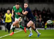 1 February 2020; Robbie Henshaw of Ireland in action against Stuart Hogg of Scotland during the Guinness Six Nations Rugby Championship match between Ireland and Scotland at the Aviva Stadium in Dublin. Photo by Seb Daly/Sportsfile
