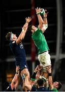 1 February 2020; Iain Henderson of Ireland wins possession in a line-out ahead of Jamie Ritchie of Scotland during the Guinness Six Nations Rugby Championship match between Ireland and Scotland at the Aviva Stadium in Dublin. Photo by Ramsey Cardy/Sportsfile