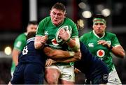 1 February 2020; Tadhg Furlong of Ireland is tackled by Jamie Ritchie, left, and Hamish Watson of Scotland during the Guinness Six Nations Rugby Championship match between Ireland and Scotland at the Aviva Stadium in Dublin. Photo by Seb Daly/Sportsfile