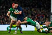 1 February 2020; Ali Price of Scotland is tackled by John Cooney and Josh van der Flier of Ireland during the Guinness Six Nations Rugby Championship match between Ireland and Scotland at the Aviva Stadium in Dublin. Photo by Brendan Moran/Sportsfile