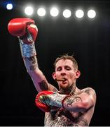 1 February 2020; Ruairi Dalton celebrates after defeating Jose Aguilar in their super-featherweight bout at the Ulster Hall in Belfast. Photo by David Fitzgerald/Sportsfile