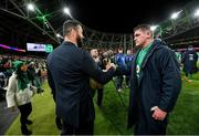 1 February 2020; Ireland head coach Andy Farrell and Tadhg Furlong following the Guinness Six Nations Rugby Championship match between Ireland and Scotland at the Aviva Stadium in Dublin. Photo by Ramsey Cardy/Sportsfile