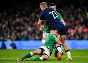 1 February 2020; Chris Harris of Scotland is tackled by John Cooney, left, and Jonathan Sexton of Ireland during the Guinness Six Nations Rugby Championship match between Ireland and Scotland at the Aviva Stadium in Dublin. Photo by Seb Daly/Sportsfile