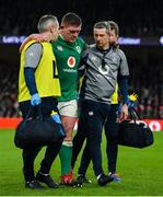 1 February 2020; Tadhg Furlong of Ireland leaves the pitch in the company of team doctor Dr Ciaran Cosgrave, left, and team physio Keith Fox during the Guinness Six Nations Rugby Championship match between Ireland and Scotland at the Aviva Stadium in Dublin. Photo by Brendan Moran/Sportsfile