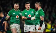 1 February 2020; Ireland players, from left, Cian Healy, Ronan Kelleher and Andrew Porter after the Guinness Six Nations Rugby Championship match between Ireland and Scotland at the Aviva Stadium in Dublin. Photo by Brendan Moran/Sportsfile