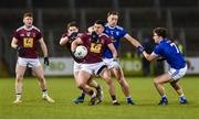 1 February 2020; David Lynch of Westmeath in action against Padraig Faulkner and Oisin Kiernan of Cavan during the Allianz Football League Division 2 Round 2 match between Cavan and Westmeath at Kingspan Breffni in Cavan. Photo by Oliver McVeigh/Sportsfile