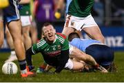 1 February 2020; Colm Boyle of Mayo goes down injured during the Allianz Football League Division 1 Round 2 match between Mayo and Dublin at Elverys MacHale Park in Castlebar, Mayo. Photo by Harry Murphy/Sportsfile