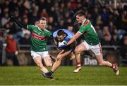 1 February 2020; John Small of Dublin is tackled by Colm Boyle, left, and James Carr of Mayo during the Allianz Football League Division 1 Round 2 match between Mayo and Dublin at Elverys MacHale Park in Castlebar, Mayo. Photo by Harry Murphy/Sportsfile