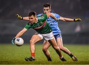 1 February 2020; Michael Plunkett of Mayo in action against Dan O'Brien of Dublin during the Allianz Football League Division 1 Round 2 match between Mayo and Dublin at Elverys MacHale Park in Castlebar, Mayo. Photo by Harry Murphy/Sportsfile
