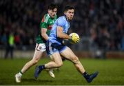 1 February 2020; David Byrne of Dublin in action against James Durcan of Mayo during the Allianz Football League Division 1 Round 2 match between Mayo and Dublin at Elverys MacHale Park in Castlebar, Mayo. Photo by Harry Murphy/Sportsfile