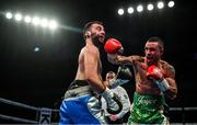 1 February 2020; David Oliver Joyce, right, and Lee Haskins during their WBO European super-bantamweight title bout at the Ulster Hall in Belfast. Photo by David Fitzgerald/Sportsfile