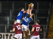 1 February 2020; Westmeath goalkeeper Eoin Carberry is challenged by Thomas Galligan and Evan Doughty of Cavan during the Allianz Football League Division 2 Round 2 match between Cavan and Westmeath at Kingspan Breffni in Cavan. Photo by Oliver McVeigh/Sportsfile