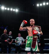 1 February 2020; David Oliver Joyce celebrates after defeating Lee Haskins in their WBO European super-bantamweight title bout at the Ulster Hall in Belfast. Photo by David Fitzgerald/Sportsfile