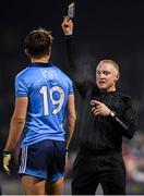 1 February 2020; Referee Barry Cassidy shows a black card to Michael Fitzsimons of Dublin during the Allianz Football League Division 1 Round 2 match between Mayo and Dublin at Elverys MacHale Park in Castlebar, Mayo. Photo by Harry Murphy/Sportsfile