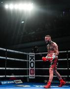 1 February 2020; Lewis Crocker celebrates after defeating John Thain in their welterweight bout at the Ulster Hall in Belfast. Photo by David Fitzgerald/Sportsfile