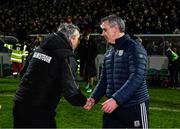 1 February 2020; Kerry manager Peter Keane and Galway manager Padraic Joyce exchange a handshake after the Allianz Football League Division 1 Round 2 match between Kerry and Galway at Austin Stack Park in Tralee, Kerry. Photo by Diarmuid Greene/Sportsfile