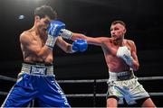 1 February 2020; Sean McComb, right, and Mauro Maximiliano Godoy during their super-lightweight bout at the Ulster Hall in Belfast. Photo by David Fitzgerald/Sportsfile