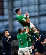 1 February 2020; James Ryan of Ireland claims a high ball, supported by team-mates Cian Healy, left, and Josh van der Flier, behind, during the Guinness Six Nations Rugby Championship match between Ireland and Scotland at the Aviva Stadium in Dublin. Photo by Seb Daly/Sportsfile