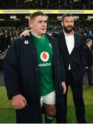 1 February 2020; Ireland head coach Andy Farrell, right, and Tadhg Furlong following the Guinness Six Nations Rugby Championship match between Ireland and Scotland at the Aviva Stadium in Dublin. Photo by Ramsey Cardy/Sportsfile