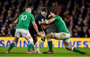 1 February 2020; Hamish Watson of Scotland is tackled by Jonathan Sexton and Iain Henderson of Ireland during the Guinness Six Nations Rugby Championship match between Ireland and Scotland at the Aviva Stadium in Dublin. Photo by Brendan Moran/Sportsfile