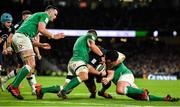 1 February 2020; Zander Fagerson of Scotland is tackled by CJ Stander and Tadhg Furlong of Ireland short of the try line during the Guinness Six Nations Rugby Championship match between Ireland and Scotland at the Aviva Stadium in Dublin. Photo by Brendan Moran/Sportsfile