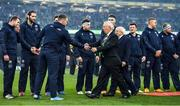 1 February 2020; IRFU President Nicky Comyn and President of Ireland Michael D Higgins meet Scotland captain Stuart Hogg prior to the Guinness Six Nations Rugby Championship match between Ireland and Scotland at the Aviva Stadium in Dublin. Photo by Brendan Moran/Sportsfile