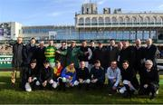 2 February 2020; RTÉ presenter Robert Hall with the jockeys prior to the start of Day Two of the Dublin Racing Festival at Leopardstown Racecourse in Dublin. Photo by Harry Murphy/Sportsfile
