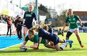 2 February 2020; Cliodhna Moloney of Ireland dives over to score her side's first try during the Women's Six Nations Rugby Championship match between Ireland and Scotland at Energia Park in Donnybrook, Dublin. Photo by Ramsey Cardy/Sportsfile