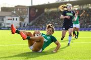 2 February 2020; Sene Naoupu of Ireland celebrates after scoring her side's second try during the Women's Six Nations Rugby Championship match between Ireland and Scotland at Energia Park in Donnybrook, Dublin. Photo by Ramsey Cardy/Sportsfile