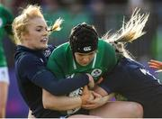2 February 2020; Ciara Griffin of Ireland is tackled by Megan Gaffney and Chloe Rollie of Scotland during the Women's Six Nations Rugby Championship match between Ireland and Scotland at Energia Park in Donnybrook, Dublin. Photo by Ramsey Cardy/Sportsfile