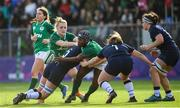 2 February 2020; Linda Djougang of Ireland is tackled by Sarah Bonar and Rachel McLachlan of Scotland during the Women's Six Nations Rugby Championship match between Ireland and Scotland at Energia Park in Donnybrook, Dublin. Photo by Ramsey Cardy/Sportsfile