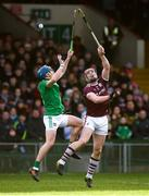2 February 2020; Aaron Costello of Limerick in action against Conor Whelan of Galway during the Allianz Hurling League Division 1 Group A Round 2 match between Limerick and Galway at LIT Gaelic Grounds in Limerick. Photo by Diarmuid Greene/Sportsfile