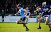 2 February 2020; Danny Sutcliffe of Dublin in action against Ryan Mullaney and Fiachra C Fennell of Laois during the Allianz Hurling League Division 1 Group B Round 2 match between Dublin and Laois at Parnell Park in Dublin. Photo by Brendan Moran/Sportsfile