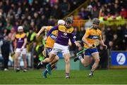 2 February 2020; Lian Óg McGovern of Wexford in action against Aidan McCarthy and Stephen O'Halloran of Clare, 7, during the Allianz Hurling League Division 1 Group B Round 2 match between Wexford and Clare at Chadwicks Wexford Park in Wexford. Photo by Ray McManus/Sportsfile