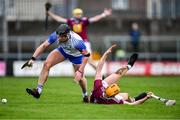 2 February 2020; Iarlaith Daly of Waterford in action against Niall Mitchell of Westmeath during the Allianz Hurling League Division 1 Group A Round 2 match between Westmeath and Waterford at TEG Cusack Park in Mullingar, Westmeath. Photo by Piaras Ó Mídheach/Sportsfile
