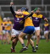 2 February 2020; Kevin Foley of Wexford is tackled by David McInerney of Clare during the Allianz Hurling League Division 1 Group B Round 2 match between Wexford and Clare at Chadwicks Wexford Park in Wexford. Photo by Ray McManus/Sportsfile