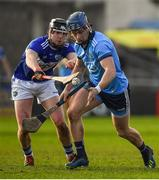 2 February 2020; David Keogh of Dublin is dispossessed by Donncha Hartnett of Laois during the Allianz Hurling League Division 1 Group B Round 2 match between Dublin and Laois at Parnell Park in Dublin. Photo by Brendan Moran/Sportsfile