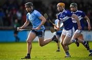2 February 2020; Donal Burke of Dublin races clear of Pádraig Delaney and Diarmuid Conway of Laois during the Allianz Hurling League Division 1 Group B Round 2 match between Dublin and Laois at Parnell Park in Dublin. Photo by Brendan Moran/Sportsfile