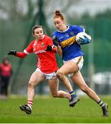 2 February 2020; Aishling Moloney of Tipperary in action against Melissa Duggan of Cork during the 2020 Lidl Ladies National Football League Division 1 Round 2 match between Tipperary and Cork at Ardfinnan in Clonmel, Tipperary. Photo by Eóin Noonan/Sportsfile